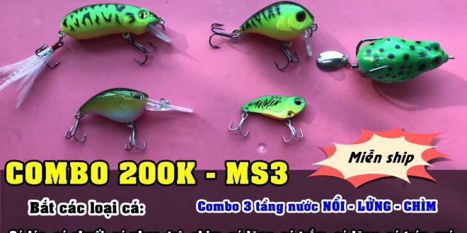 Combo mồi giả siêu nhạy cá 200K -MS03  Câu cá lóc, chuối ...